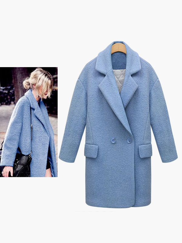Notch Collar Buttons Pockets Elegant Coat For Woman Cheap clothes, free shipping worldwide