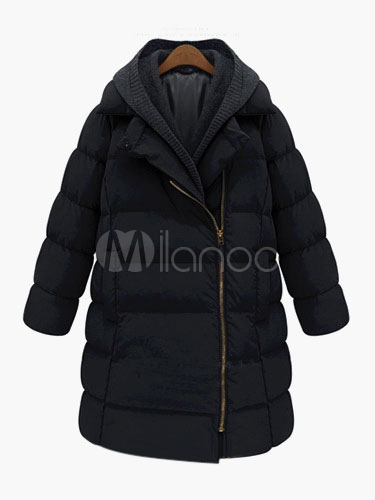 Woman's Long Sleeves Zippered Polyester Hooded Cotton-padded Jacket Cheap clothes, free shipping worldwide