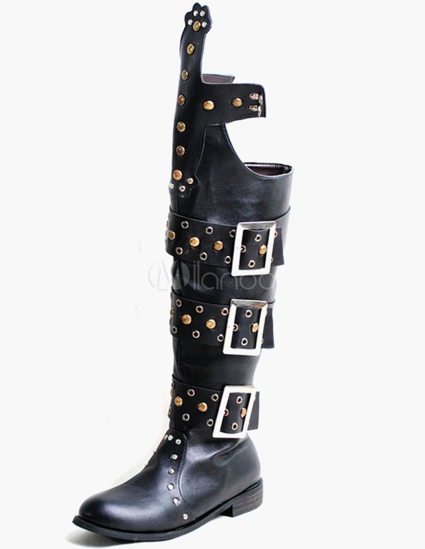 Buckle Rivets Round Toe PU Leather Motocycle Boots For Men