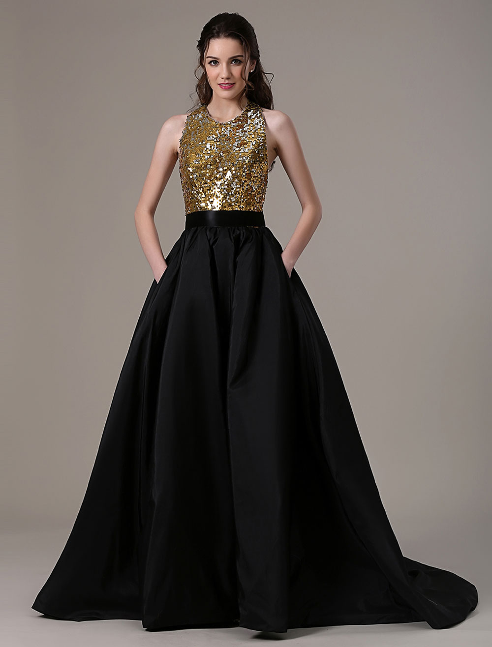 Black Wedding Dress Ball Gown Taffeta Pockets Sequin Bodice