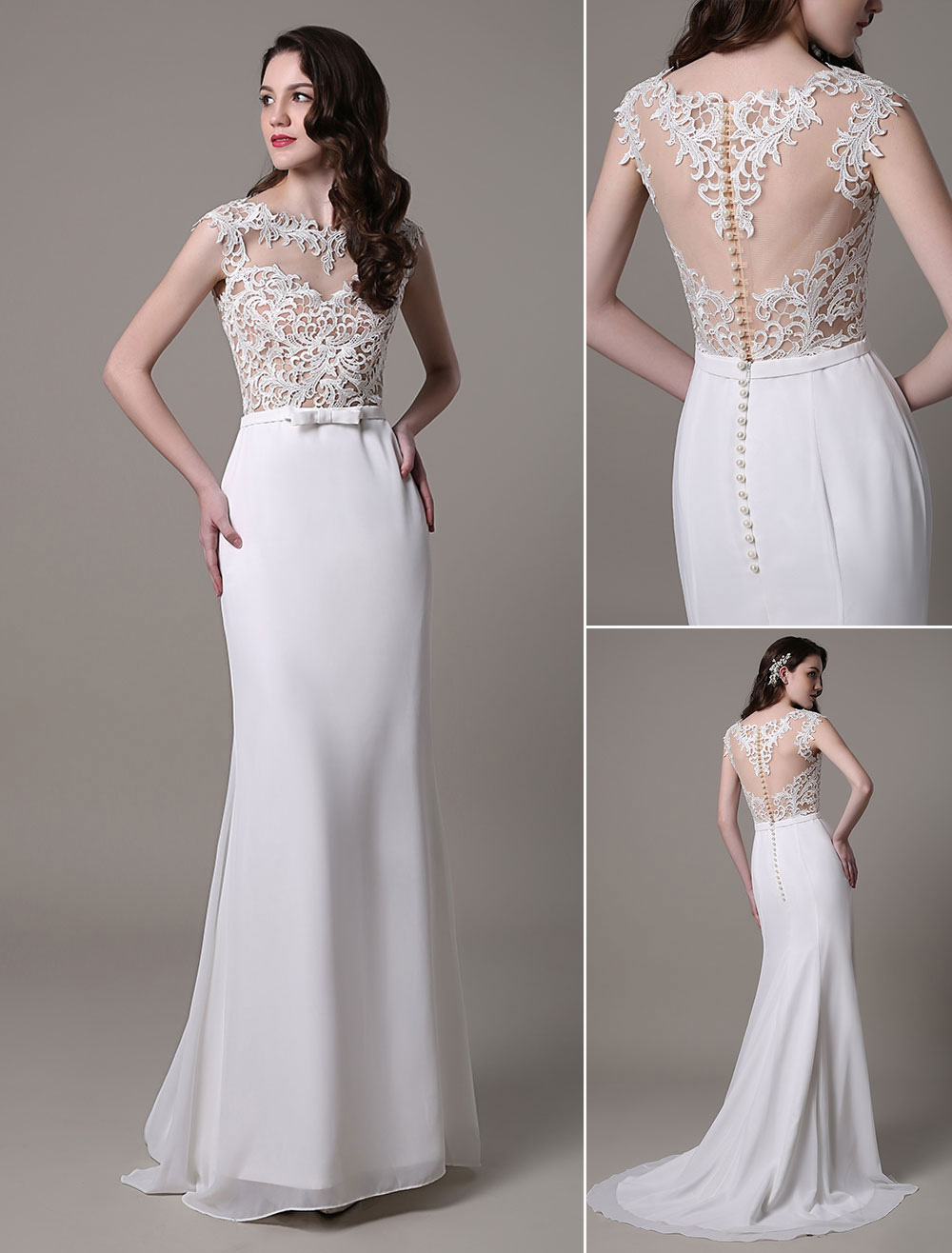 Vintage Wedding Dress Lace And Chiffon Sheath With Stunning Bateau Illusion Neckline And Illusion Back Milanoo