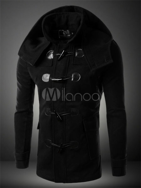 Black Horn Butttons Pockets Wollen Hooded Coat For Men