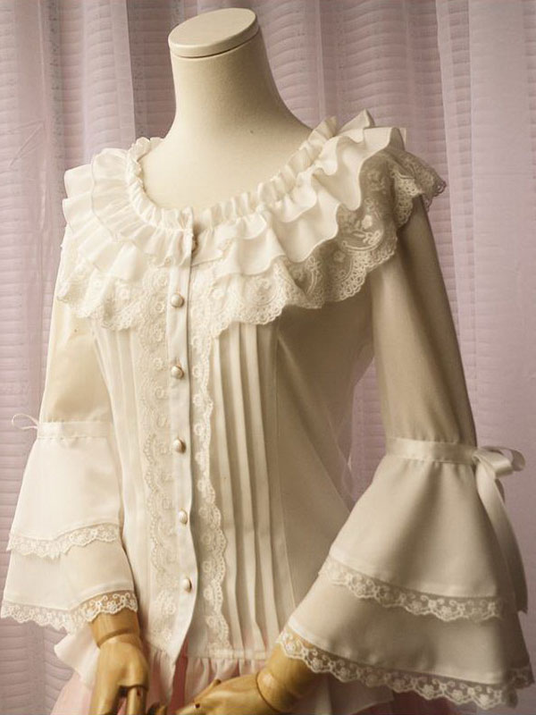 Buy White Chiffon Lolita Blouse Long Hime Sleeves Lace Trim Round Ruffles Collar for $47.69 in Milanoo store