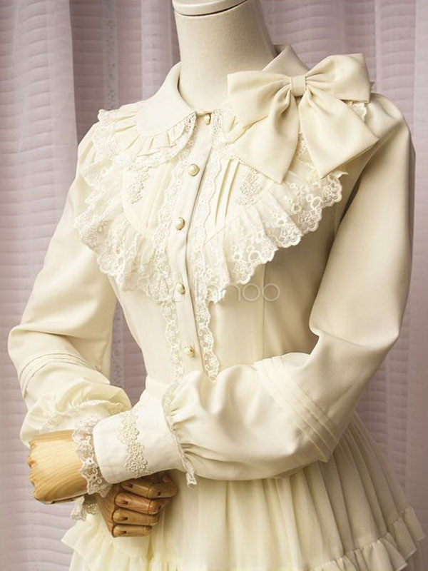 Off White Lolita Blouse Long Sleeves Lace Trim Bow Ruffles