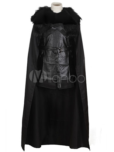 Buy Halloween Jon Snow Faux Fur Poncho Black Cosplay Costume Halloween for $159.99 in Milanoo store
