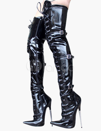 Pointed Toe Buckle PU Upper Over The Knee High Heel Boots