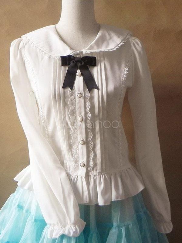 Sweet Chiffon White Lolita Blouse Long Sleeves Ruffles Trim Black Bow