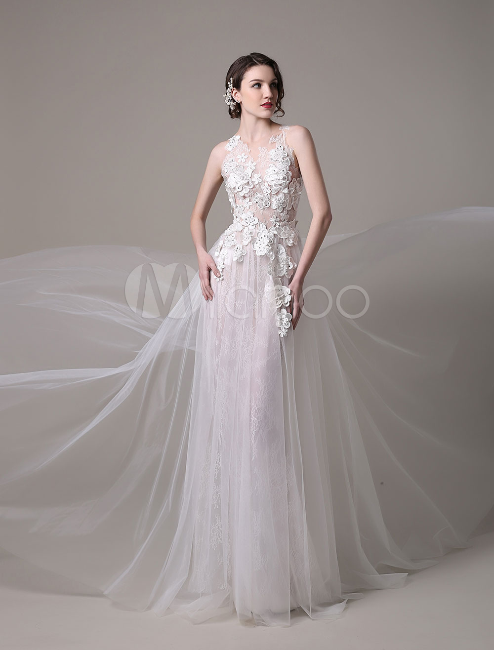 Y Wedding Dress In Lace And Tulle With Sheer Illusion Bodice Fl Lique Milanoo