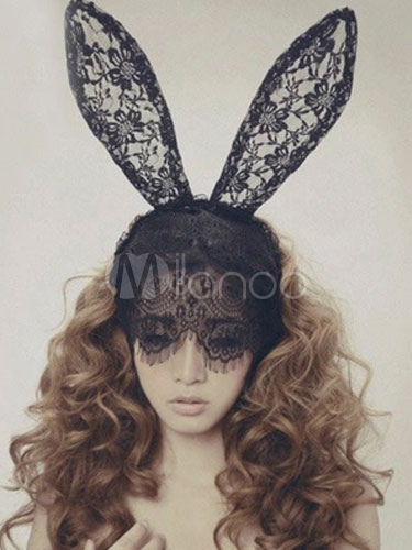 Sexy Rabbit Ear Veiled Head Band In Black Lace Cheap clothes, free shipping worldwide