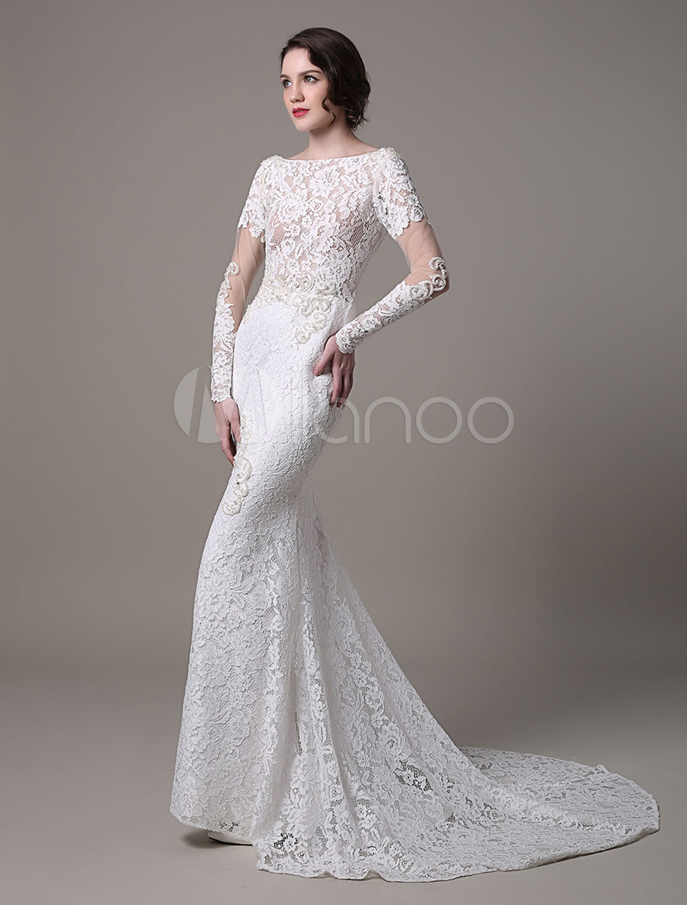 Vintage Lace Wedding Dress With Long Sheer Sleeves And Pearls Applique  Milanoo