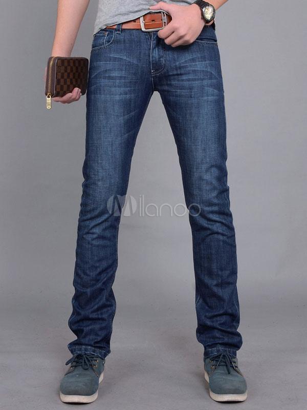 Deep Blue Denim Cool Straight Jeans For Men