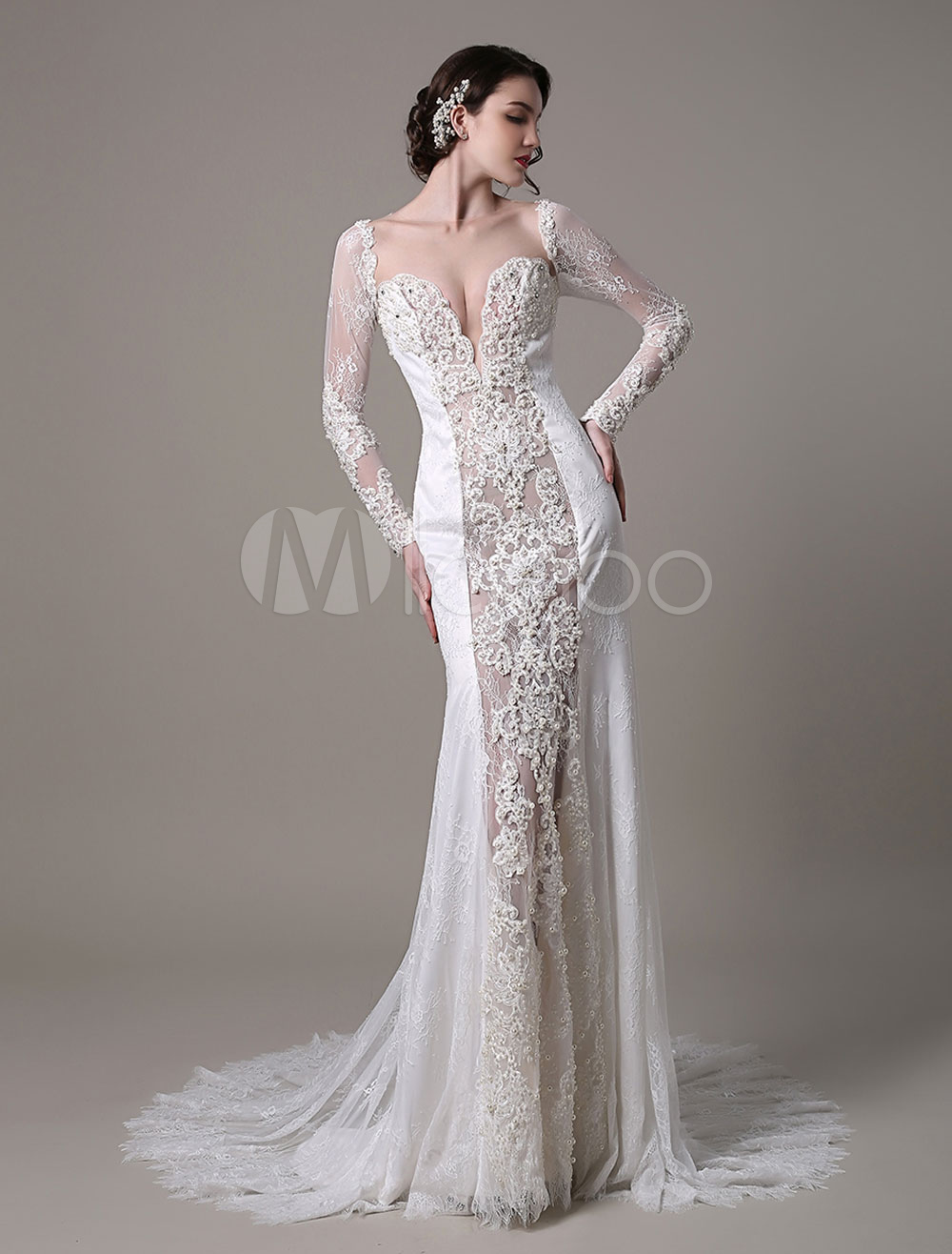 Sexy Lace Vintage Wedding Dress With Long Sleeves Deep Illusion V-Neck Luxury Beaded And Pearls All Bodice  Milanoo