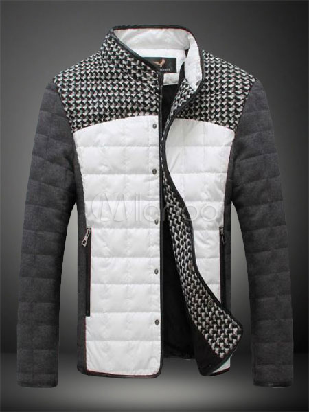 Chic Patchwork Stand Collar PU Leather Pockets Mens Jacket
