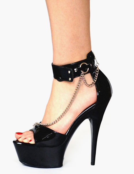 Metal Chains Open Toe Platform PU Leather Sexy Sandals