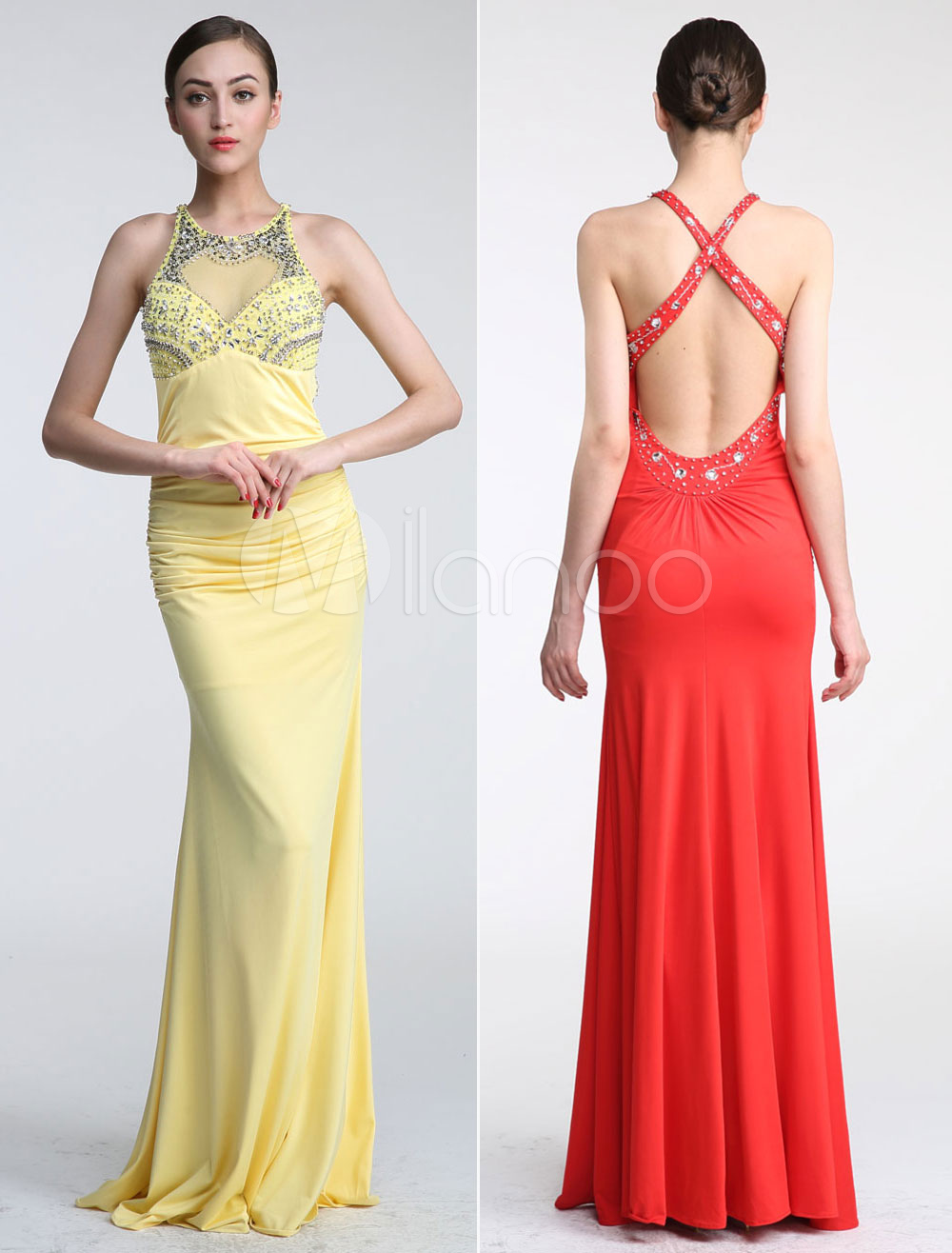 Beaded Illusion Halter Neckline Mermaid Prom Dress with Crisscross Back