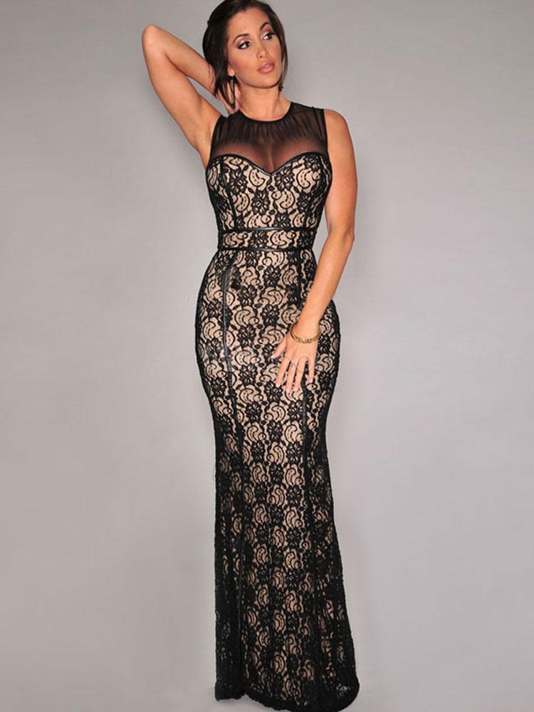 modele robe dentelle longue mod les populaires de robes de soir e. Black Bedroom Furniture Sets. Home Design Ideas