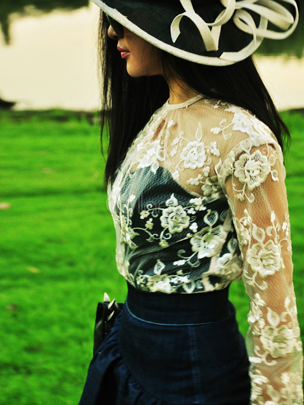 Long Sleeves Semi-Sheer Woman's Lace Blouse