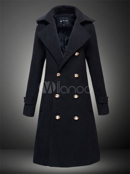 Men Trench Coat Double Breasted Winter Overcoat Turndown Collar Pea Coat