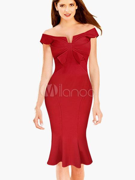 Sweet Bow Bateau Cotton Blend Mermaid Bodycon Dress