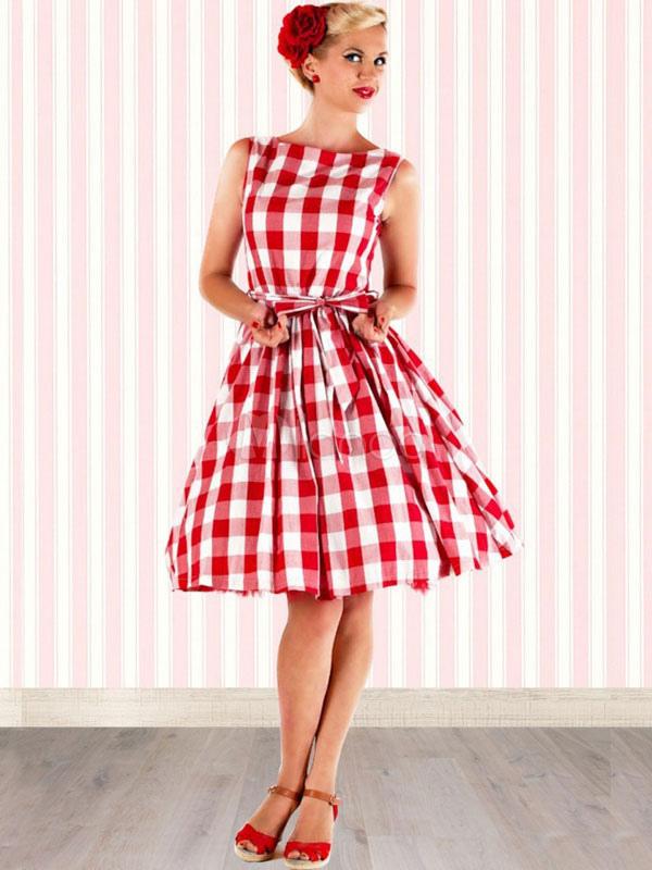 Vestido vintage de algodón mezclado con escote estilo marinero sin ...