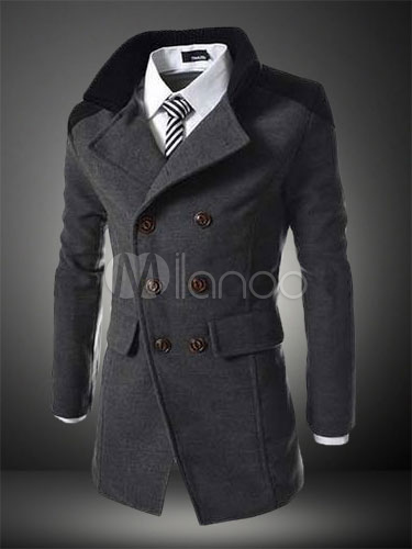 Grey Peacoat Men 2018 Trench Coat Turndown Collar Long Sleeve Double Breasted Slim Fit Winter Coat