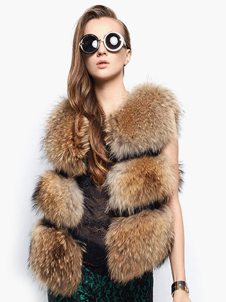 Faux Fur Vest Women Camel Coat Sleeveless Faux Fur Jacket Cheap clothes, free shipping worldwide