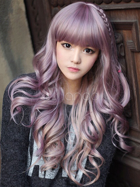 Lavender Cosplay Wig Blunt Bangs Curly Long  Halloween