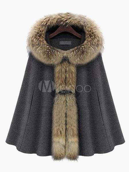 Women Coat Faux Fur Hoodie Poncho Oversized Winter Coats Cheap clothes, free shipping worldwide