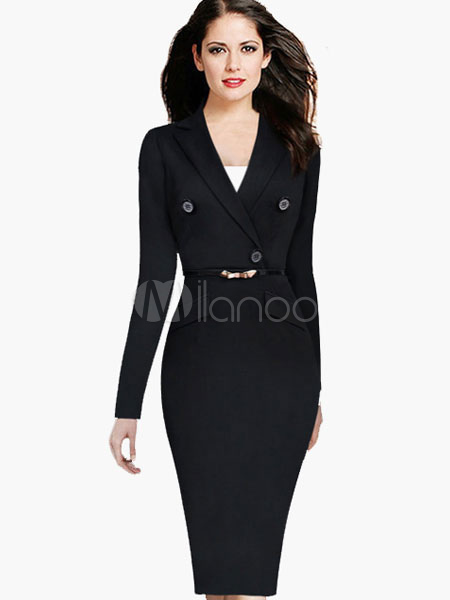 V-neck Fake Two Piece Buttons Cotton Blend Woman's Bodycon Dress