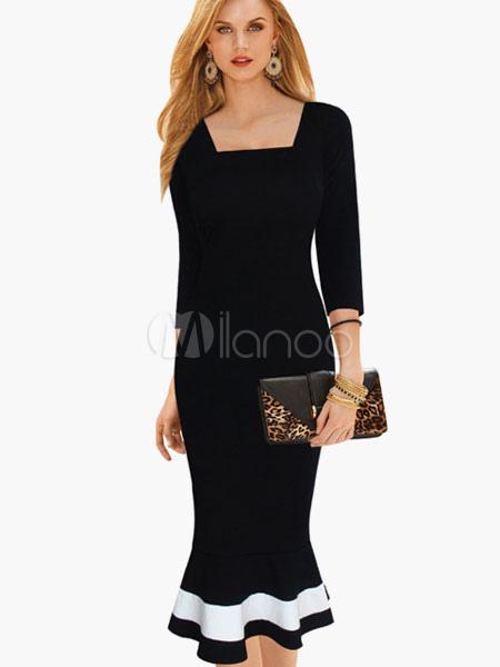 Square Neck Cotton Blend Mermaid Midi Dress With Contrast Hem