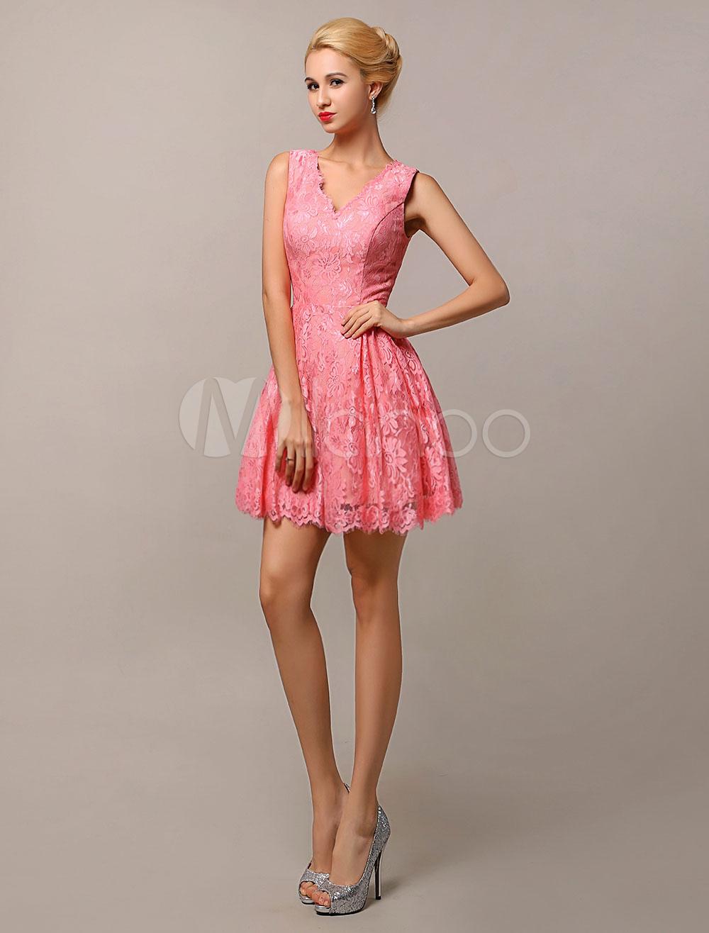 Knee-length V-Neck A-Line Lace Bridesmaid Dress