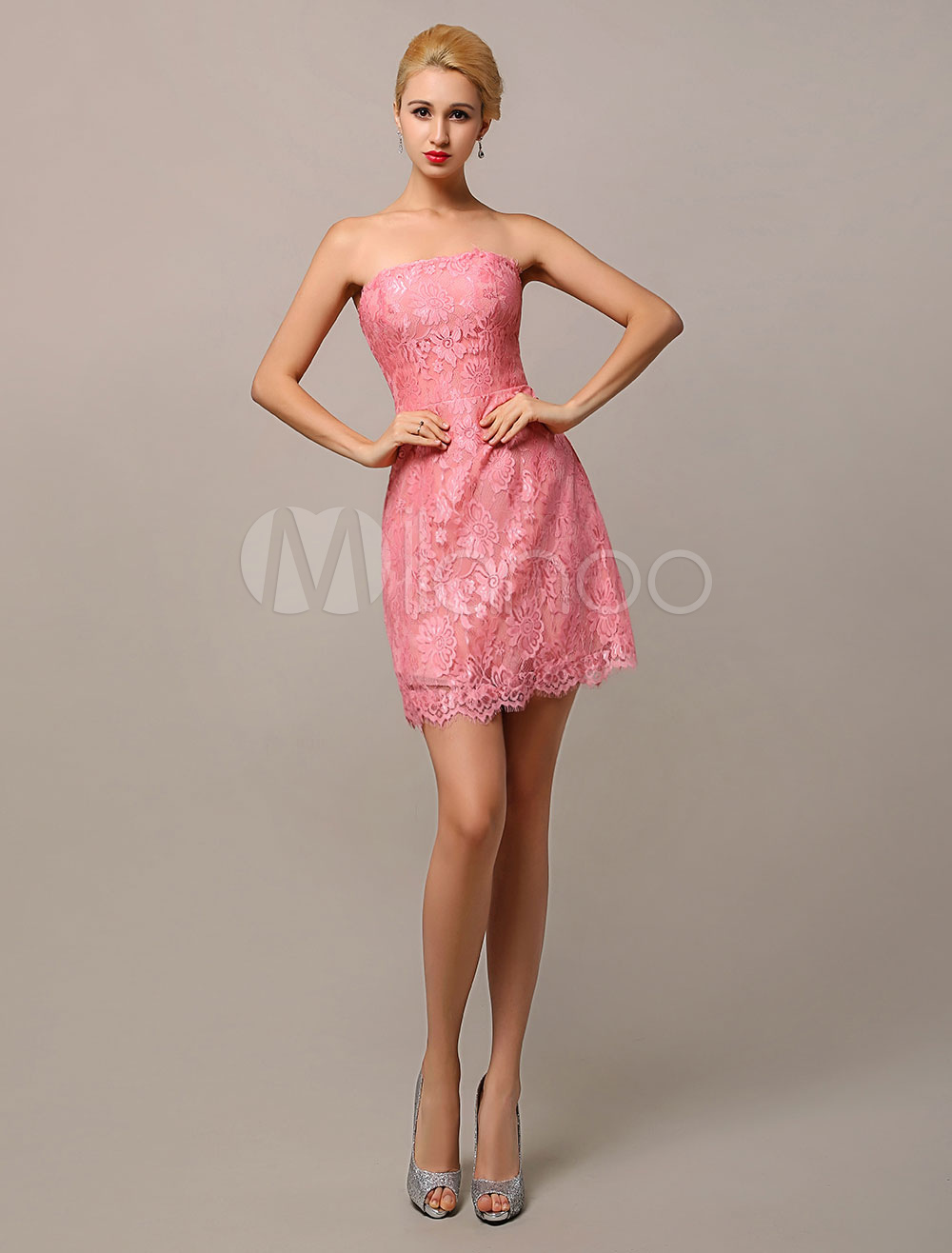 Blush Pink Elegant Strapless Short Lace Bridesmaid Dress Wedding Guest Dress