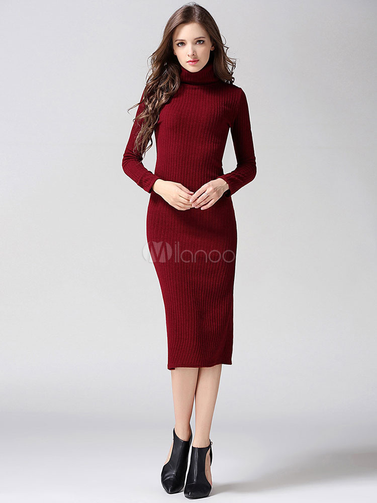 Turtleneck Split Knitted Dress Cheap clothes, free shipping worldwide