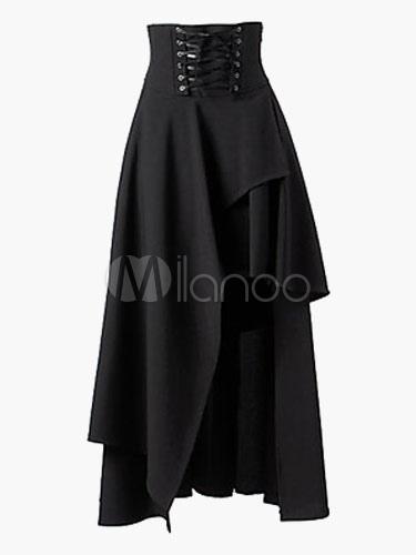 Women Black Skirt 2018 Lace Up Bandage Long Skirt