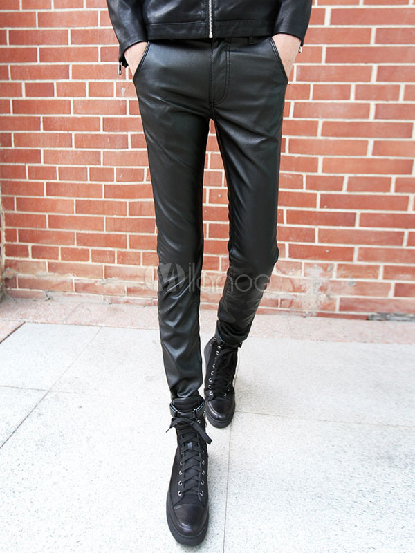 Skinny Leg Pant Black PU Men Leather Pant