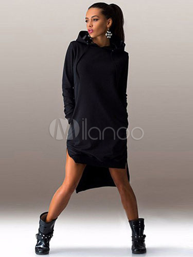 Hi-Lo Split Hooded Shift Dress