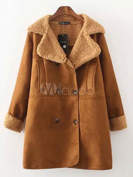 purchase cheap b8b03 87d6e Cappotto marrone chiaro doppiopetto in camoscio per donna