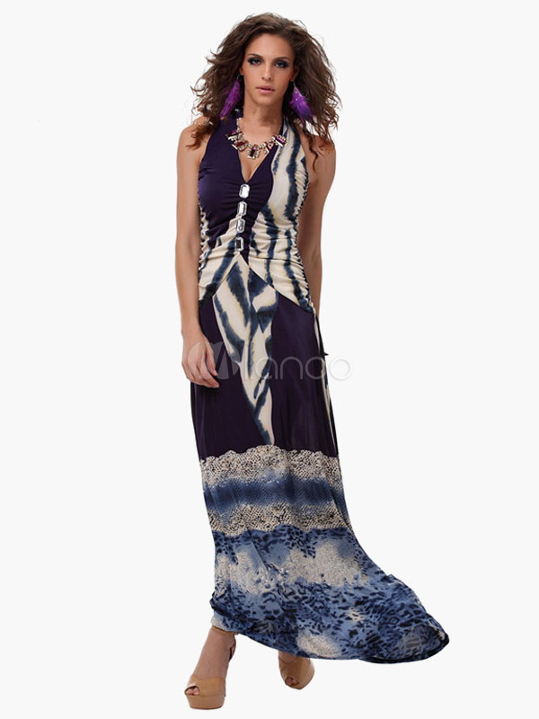 Multi Print Halter Maxi Dress