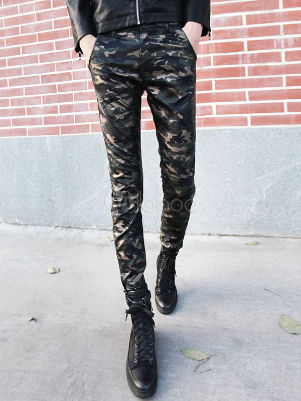 Camouflage Skinny Leather Pants