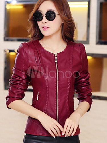 PU Leather Slim Fit Jacket
