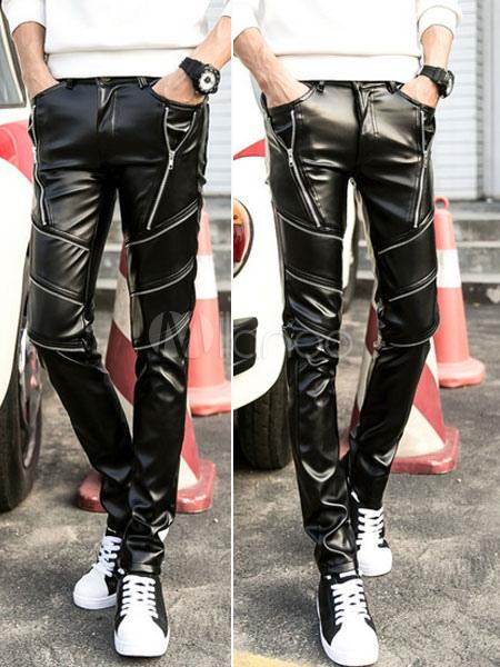 Zipper Skinny Leather Pants