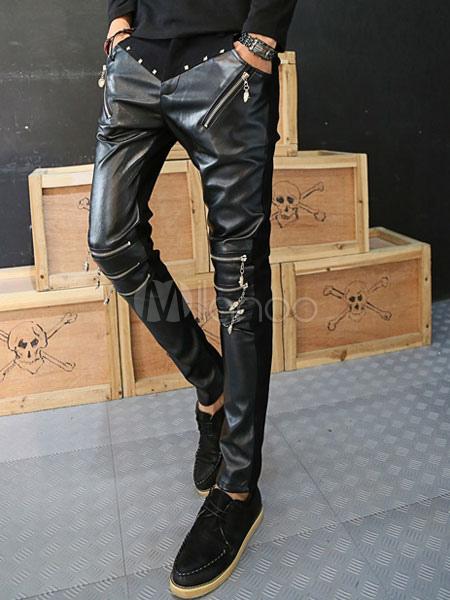 Rivets Zipper Skinny Leather Pants