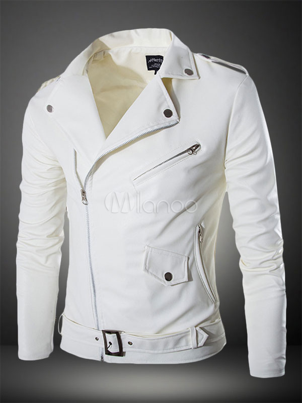 Men Leather Jacket White Motorcycle Jacket Turndown Collar Long Sleeve Leather Coat