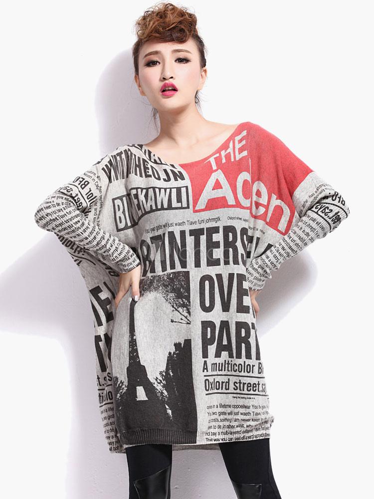 Latter Print Oversized Pullovers