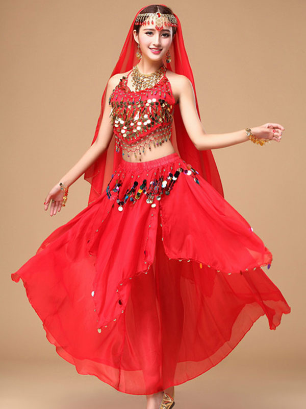 Belly Dance Costume Women's Red Sparkle Chiffon Bollywood Dance Dress