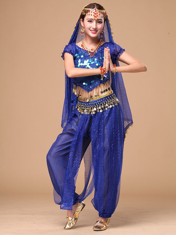 Belly Dance Costume Sparkle Blue Chiffon Bollywood Dance Dress for Women