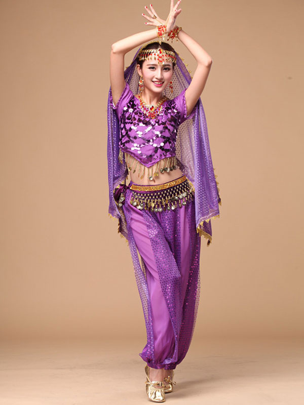 Belly Dance Costume Sparkle Blue Chiffon Bollywood Dance