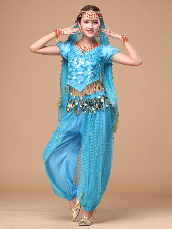 Belly Dance Costume Women's Blue Chiffon Bollywood Dance Dress in 4 Piece