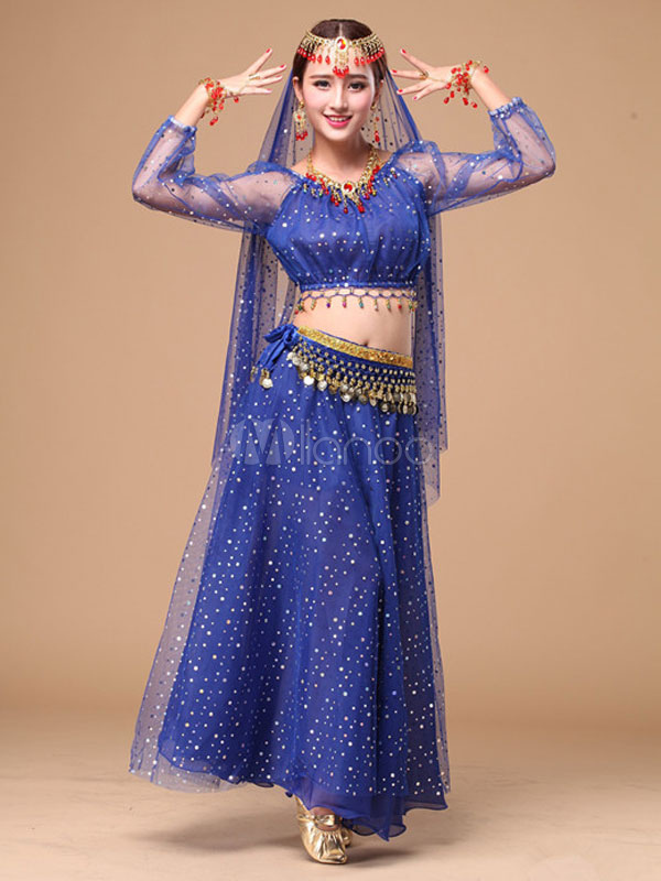 Belly Dance Costume Glitter Chiffon Bollywood Dance Dress
