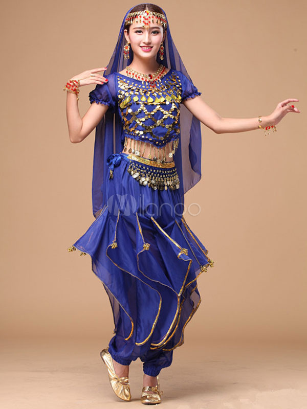 Belly Dance Costume Women's Blue Glitters Bollywood Dance Dress